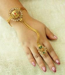 Buy Designer Copper Multicolour Zircon Adjustable Haath Phool Hath Panja Ethnic Wedding Jewelry - LCHP03_MG haath-phool-hath-panja online