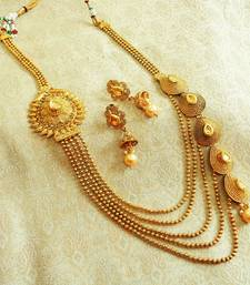 Buy Golden LCT Kundan 5 / Five String Liner Long Rani Haar Jewellery Necklace Set for Wedding Festival - L5LN01_LCT necklace-set online