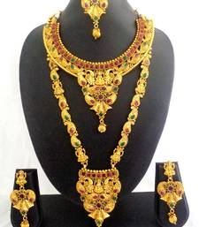 Buy Ruby Green Copper Long Short Laxmi Temple Necklace Jewelry Haaram Set for Wedding Festival - LCLSN02_RG bridal-set online