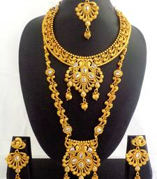Buy White Copper Long Short Necklace Jewelry Haaram Set for Wedding Festival - LCLSN03_RG bridal-set online