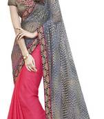 Buy Pink and grey embroidered chiffon saree with blouse
