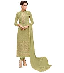 Buy Green embroidered georgette salwar with dupatta cotton-silk-suit online