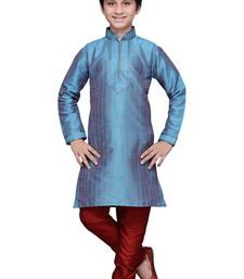 Buy Rama green art silk kids kurta pyjama for boys boys-kurta-pyjama online