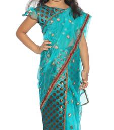 Buy Girls ready to wear stitched designer saree with stitched blouse kids-saree online