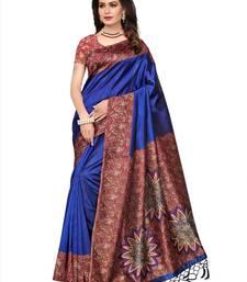 Buy Blue printed tussar silk saree with blouse tussar-silk-saree online
