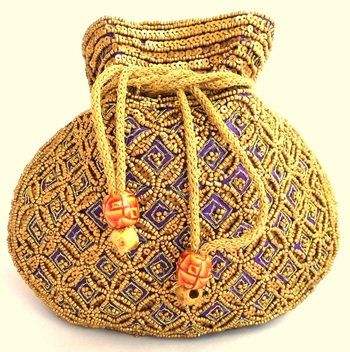 Beaded Drawstring Potli/Batwa- Purple