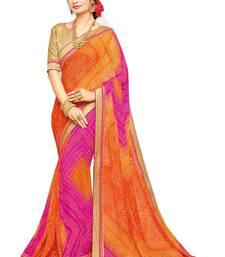 Buy Orange printed georgette saree with blouse bandhani-sarees-bandhej online