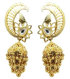Buy Gold cubic zirconia chandbali chandbali online