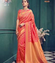 Buy Light red woven pure jacquard saree with blouse jacqueline-fernandez-saree online