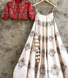 Buy Cream Embroidered silk stitched lehenga lehenga-choli online