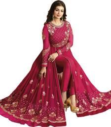 Buy Pink embroidered Faux Gergotte semi-stitched salwar kameez with dupatta anarkali-salwar-kameez online