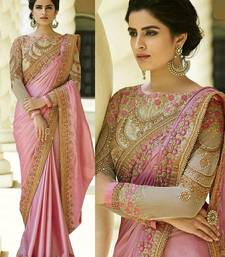 Buy Light pink embroidered pure silk saree with blouse designer-embroidered-saree online