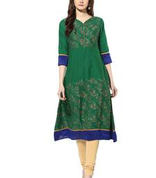 Buy Green cotton poly kurtas-and-kurtis kurtas-and-kurtis online