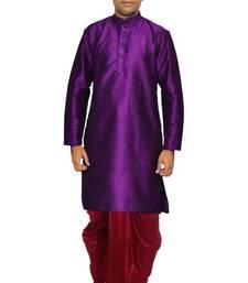 Buy Purple Silk Ethnic Indian Traditional Mens Festive Wear Dhoti Kurta kurta-pajama online