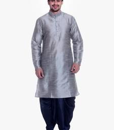 Buy Gray Silk Ethnic Indian Traditional Mens Festive Wear Dhoti Kurta kurta-pajama online