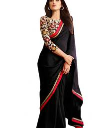 Buy Black printed georgette saree with blouse fancy-saree online