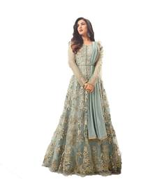 Buy Sky-blue thread embroidery net salwar anarkali-salwar-kameez online