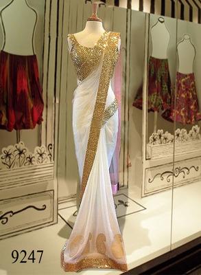 Creamiest white plain net MM Designer saree with blouse piece