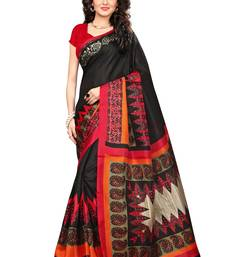 Buy Black printed khadi saree with blouse jute-saree online