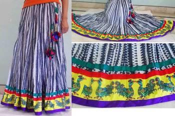 Blue printed cotton long skirt