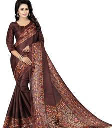 Buy Copper printed khadi saree with blouse cotton-saree online