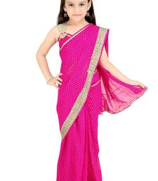 Buy Bhartiya Paridhan Girls Ready To Wear Stitched Designer Saree With Stitched Blouse kids-saree online