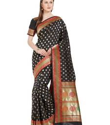 Buy orange woven silk saree with blouse kanchipuram-silk-saree online