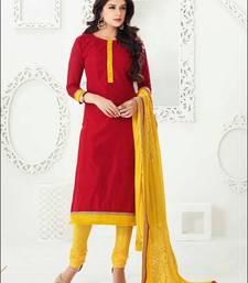 Buy red embroidered chanderi unstitched  salwar with dupatta multicolor-salwar-kameez online