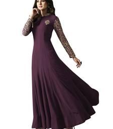 Buy Purple embroidered faux gergotte semi-stitched salwar kameez with dupatta anarkali-salwar-kameez online