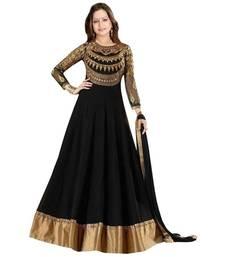 Buy Black thread embroidery net salwar anarkali-salwar-kameez online