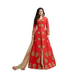 Buy Red Dupion Dupion semi_stitched high slit ethnic-suits anarkali-salwar-kameez online