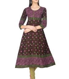 Buy Brown Cotton Block Prints Long Anarkali kurti long-kurtis online