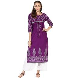 Buy Purple Cotton Block Prints Long Straight kurti long-kurtis online