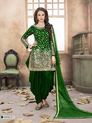 Dark green mirror taffeta salwar kameez with dupatta