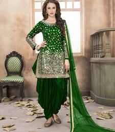 Buy Dark green mirror taffeta salwar kameez with dupatta patiala-salwar online