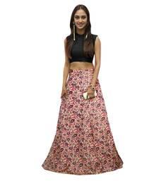 Buy Pink printed satin semi stitched lehenga crop-top-lehenga online