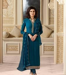 Buy Blue embroidered georgette salwar festive-salwar-suit online