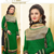 Green embroidered velvet semi-stitched salwar with dupatta