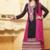 Black embroidered velvet semi-stitched salwar with dupatta