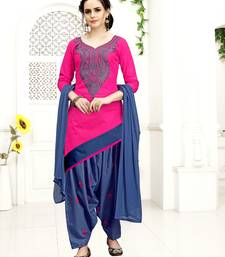 Buy Pink  thread embroidery cotton salwar punjabi-suit online