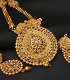 Buy Golden Artificial Long Haram white pearl embellished Necklace set. necklace-set online