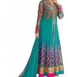 Buy Dark-turquoise embroidered net salwar party-wear-salwar-kameez online