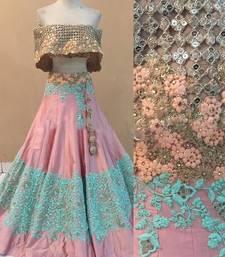 Buy pink dupion silk heavy embroidery lehenga with dupatta lehenga-choli online