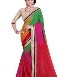 Buy Multicolor printed georgette saree with blouse multicolor-saree online