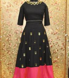Buy Black color mirror work silk fabric Full Stitched crop-top with blouse readymade-lehenga-cholis online