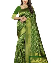Buy Green woven kanchipuram silk saree with blouse kanchipuram-silk-saree online