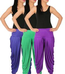 Buy Blue and Green and Violet plain Lycra free size combo patialas pants patiala-combo online