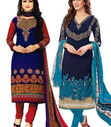 Buy multicolor printed synthetic unstitched salwar with dupatta salwar-combo online