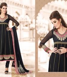 Buy Black embroidered Georgette unstitched salwar salwar-kameez online