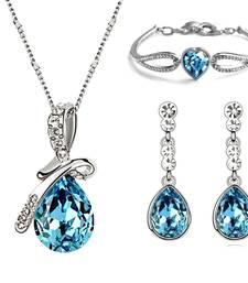 Buy Blue Princess Crystal Pendant Bracelet Set valentine-gift online
